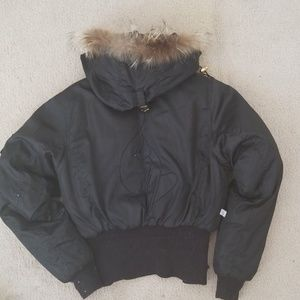 BABY PHAT Black Faux Fur Down Feather Coat